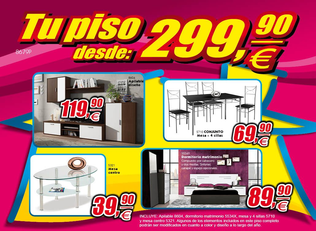 Pisos completos ahorro total muebles for Muebles piso completo