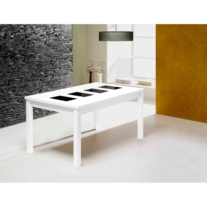 Mesa económica diseño extensible blanco negro 150 cm.