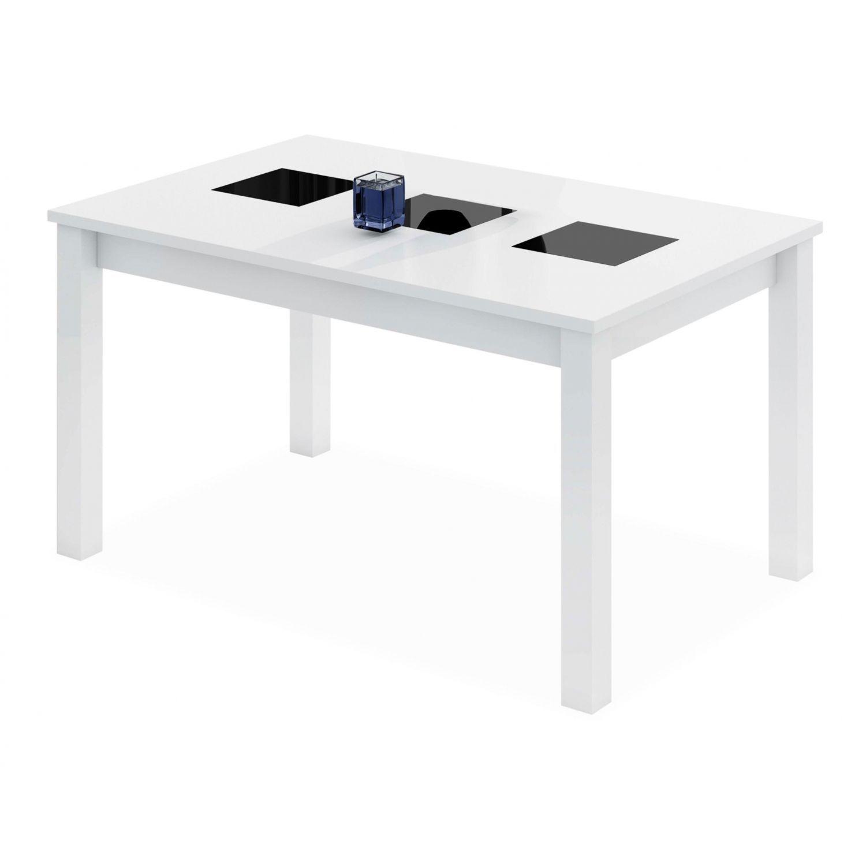 Mesa comedor extensible buen precio actual blanca con tres cristales negros 140 cm
