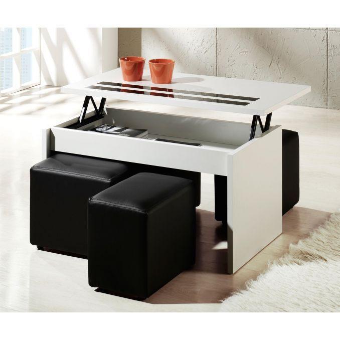 Mesa de centro económica blanca con dos cristales negros (sin puf) 101 cm de ancho moderno