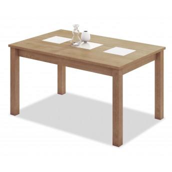 Mesa comedor extensible buen precio diseño roble tres cristales blancos 140 cm.