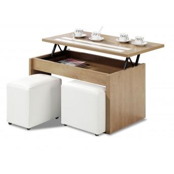 Mesa de centro económica roble con dos cristales blancos (sin puf) 101 cm de ancho moderno