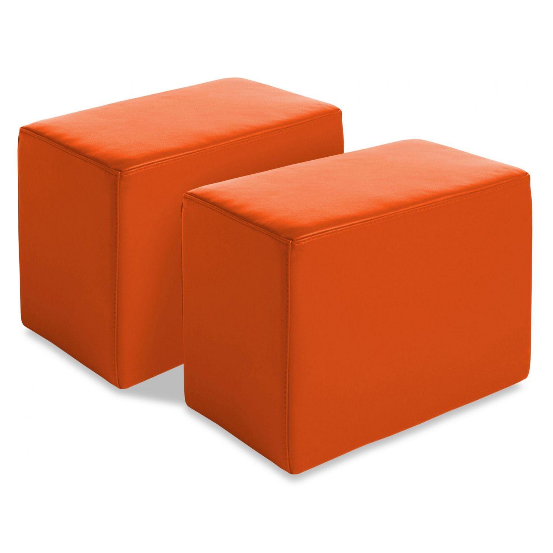 Juego 2 pufs baratos antimanchas naranja
