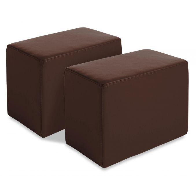 Juego de dos puf polipiel chocolate