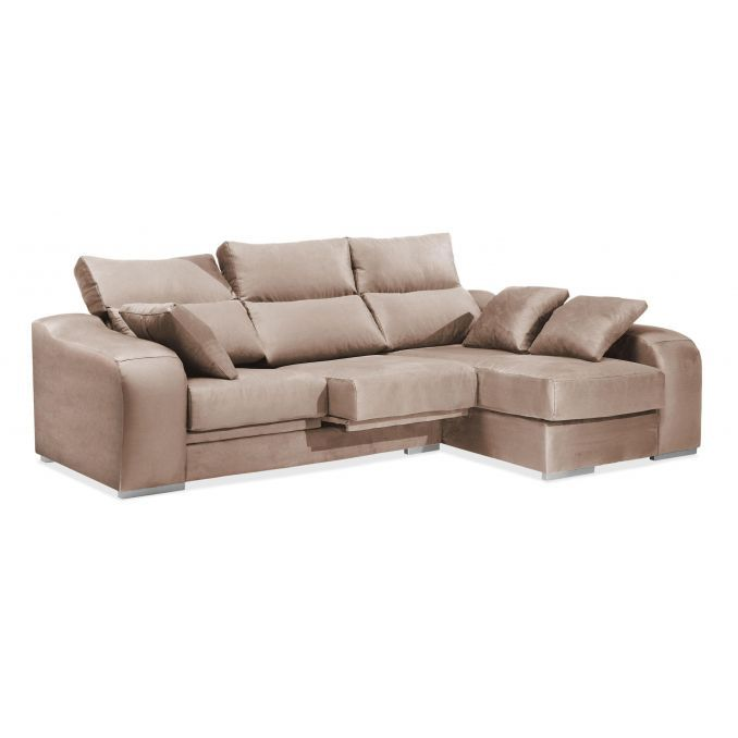 Chaise longue dise±o actual 3 plazas beige reclinable extensible 270 c
