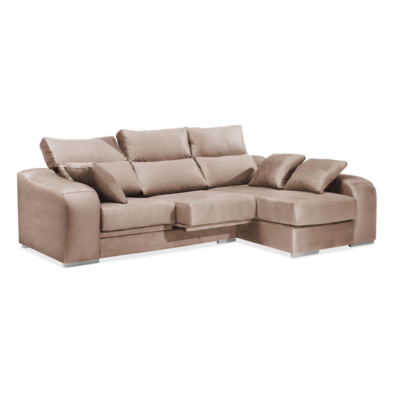 Chaise longue diseño actual 3 plazas beige reclinable extensible 270 cm.