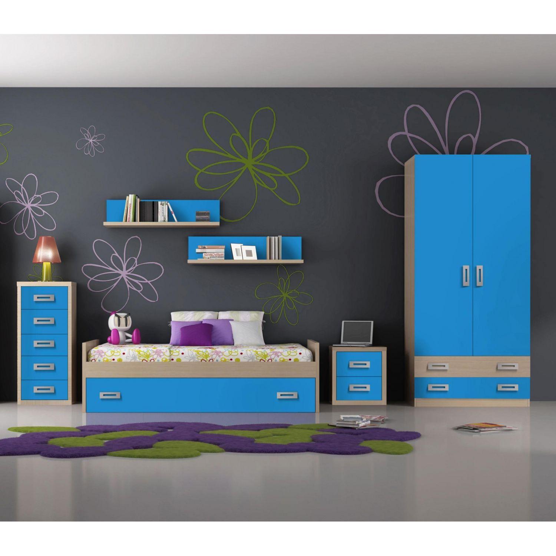 Nido juvenil barato con cama nido 202 cm opcionales for Dormitorios juveniles baratos sin armario