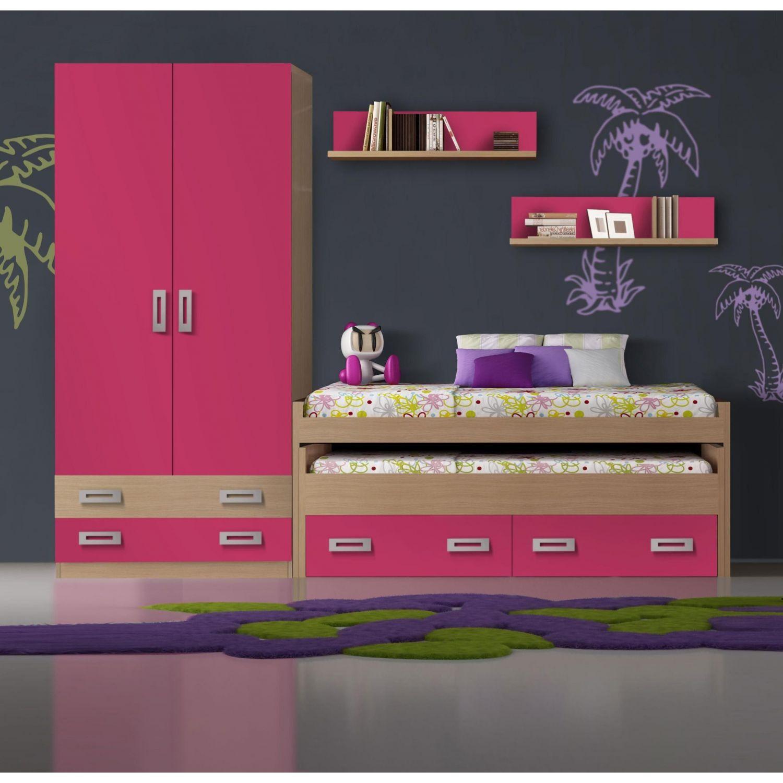 cama compacta juvenil barata roble fucsia opcionales