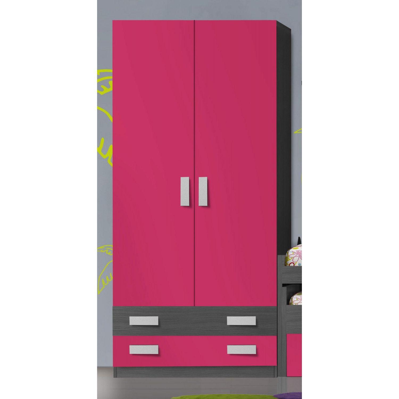 Armario económico 2 puertas y 2 cajones grafito fuxia