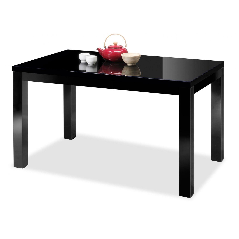 Mesa comedor lacada extensible negro 140 cm.