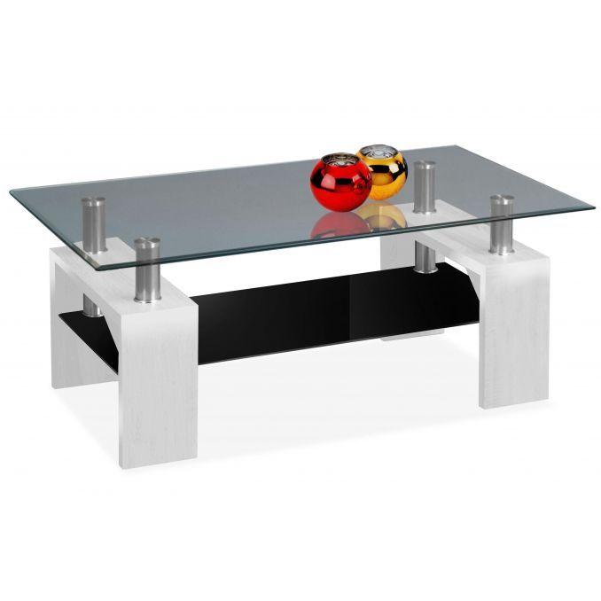 Mesa de centro barata diseño moderno blanco y cristal 100 cm Ancho moderno