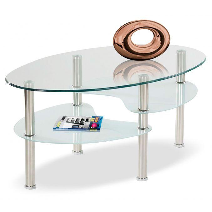 Mesa de centro barata diseño moderno cristal ovalado 85 cm Ancho moderno