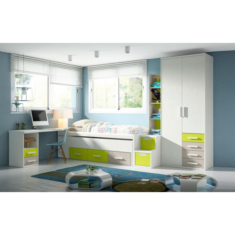 Compacto Diseño moderno cama desplazable (Opcionales armario,cajonera,estantería y escritorio)