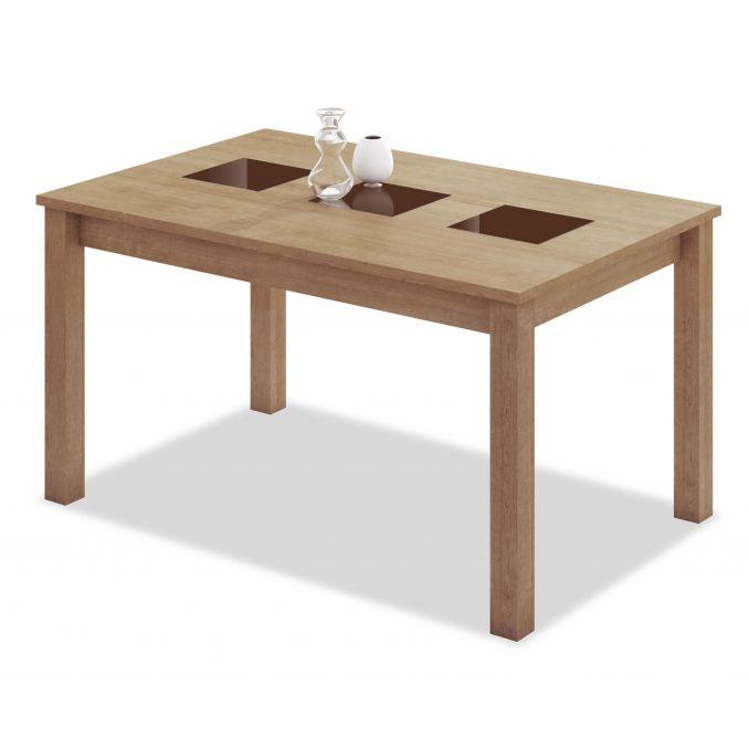 Mesa comedor extensible buen precio diseño roble tres cristales choco 140 cm.