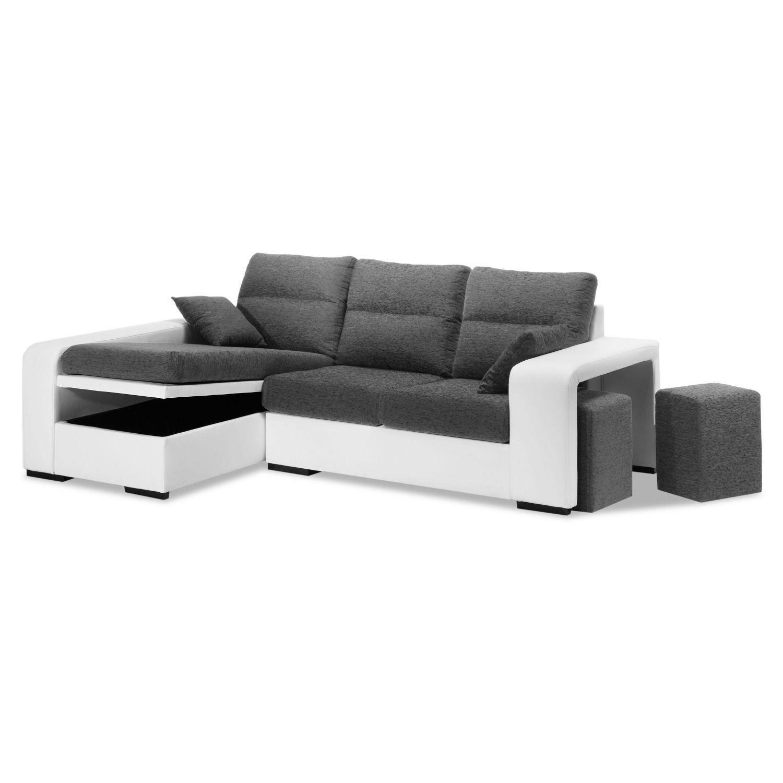 Chaise longue económica blanco y gris diseño moderno con 2 taburetes y arcón abatible 228 cm