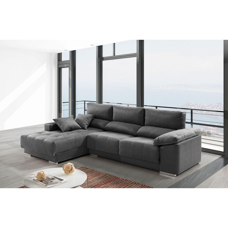Chaise longue buen precio actual extensible, reclinable y antimanchas gris 267 cm.