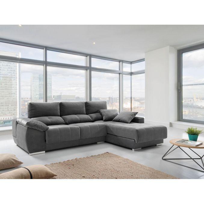 Chaiselongue buen precio actual extensible y reclinable gris 267 cm
