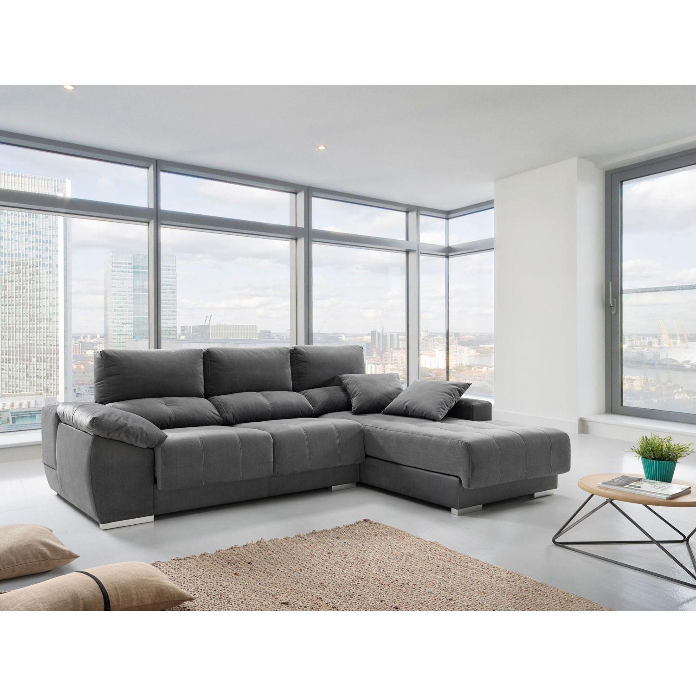 Chaiselongue buen precio, actual, extensible y reclinable gris. 267 cm.