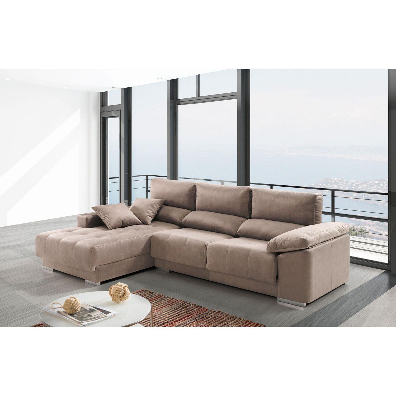 Chaislongue buen precio actual extensible, reclinable y antimanchas beige 267 cm.