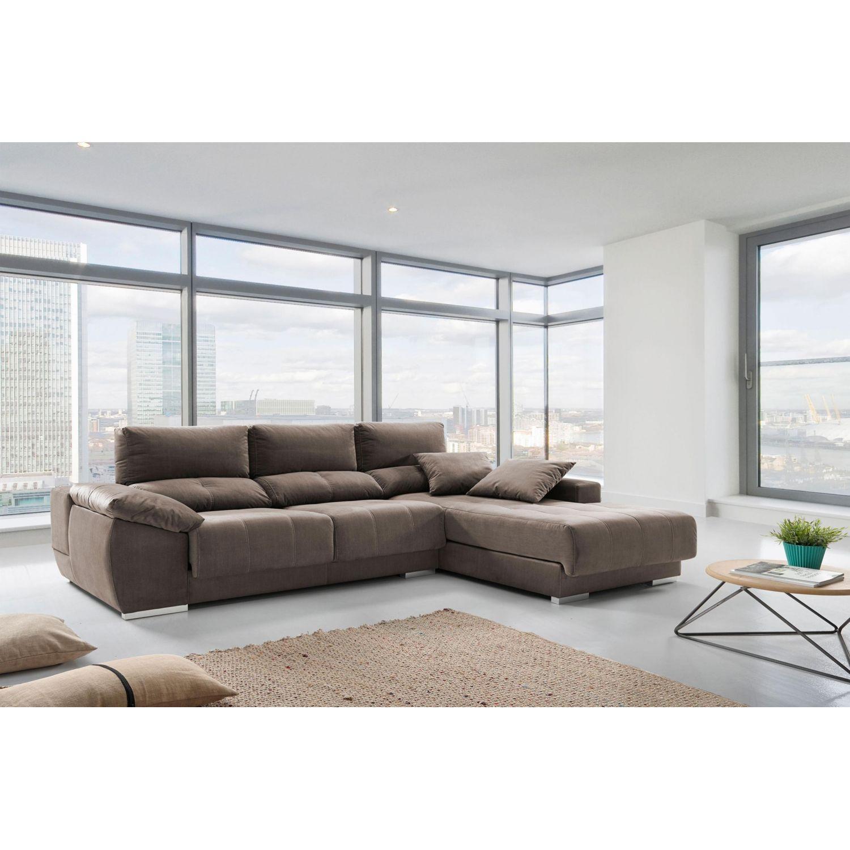 Chaislongue alta gama extensible, reclinable con taburete y brazo arcón arena 297 cm.
