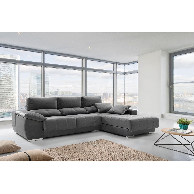 Chaise longue alta gama extensible, reclinable con taburete y brazo arcón gris 297 cm.