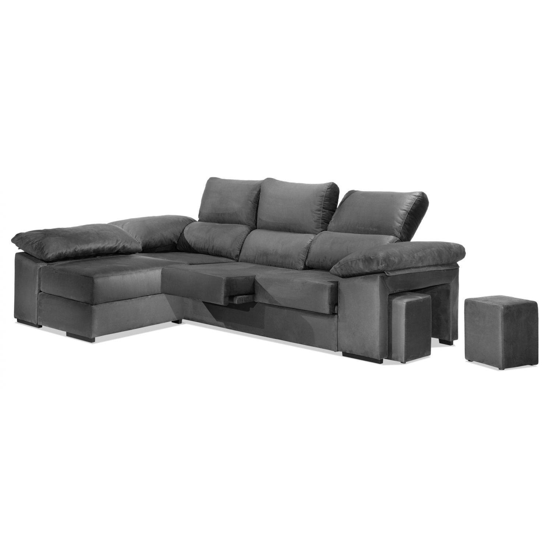Chaise longue económica gris reclinable y extensible. Con arcón abatible y 2 taburetes en brazo. 270 cm.