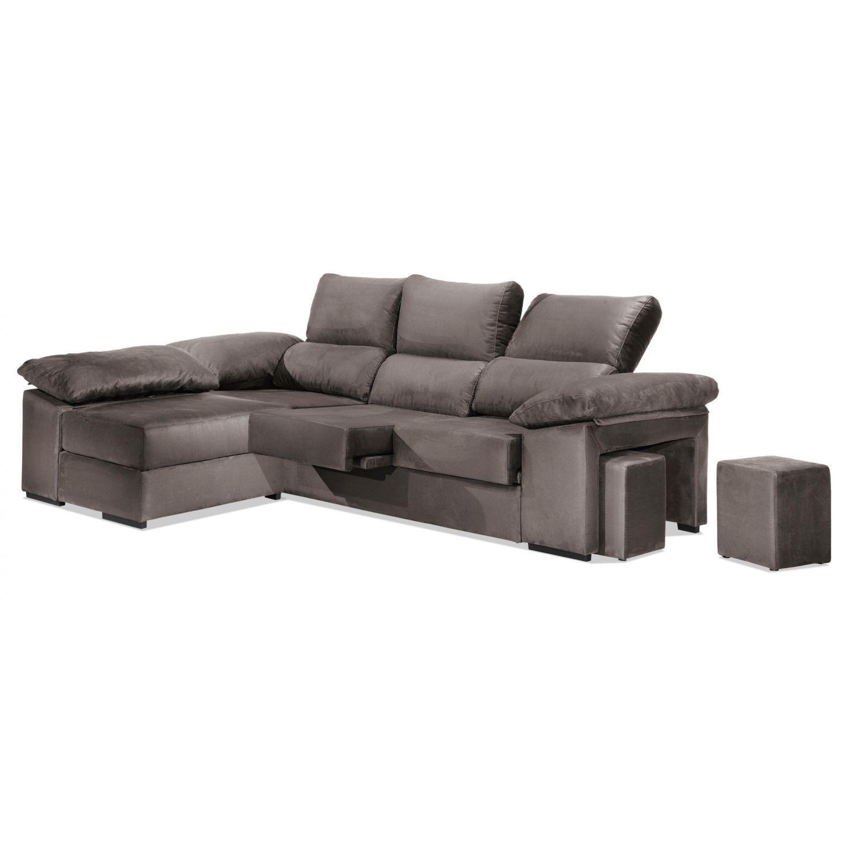 Chaise longue económica arena reclinable y extensible. Con arcón abatible y 2 taburetes.270 cm.
