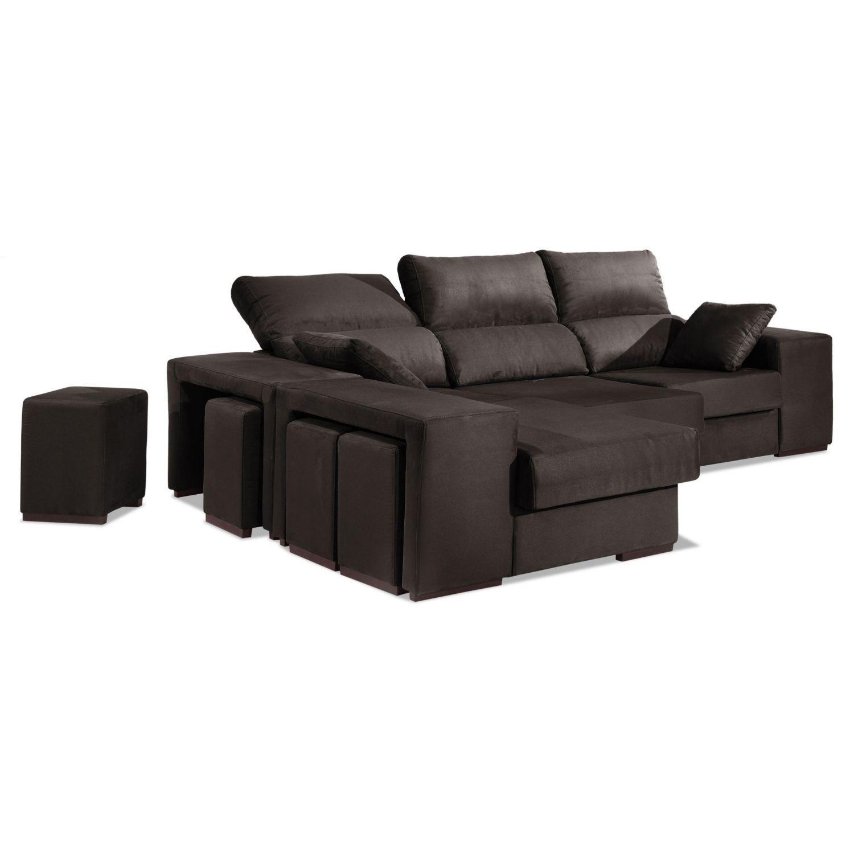Chaise longue buen precio trufa reclinable y extensible 2 taburetes.Arcón abatible.274 cm.