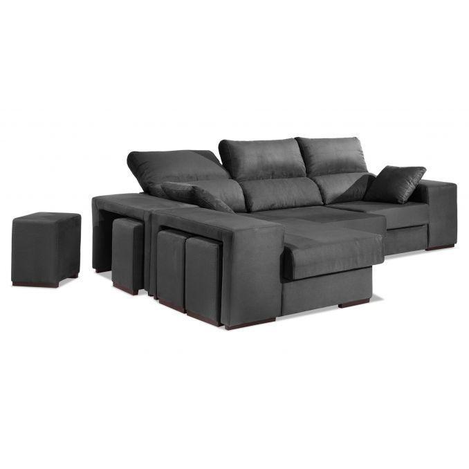 Chaise longue buen precio gris multi puf reclinable y for Sofas de calidad a buen precio