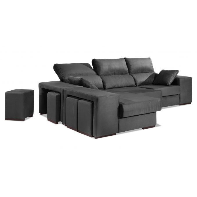 Chaise longue buen precio gris multi puf reclinable y for 2 zitsbank en chaise longue