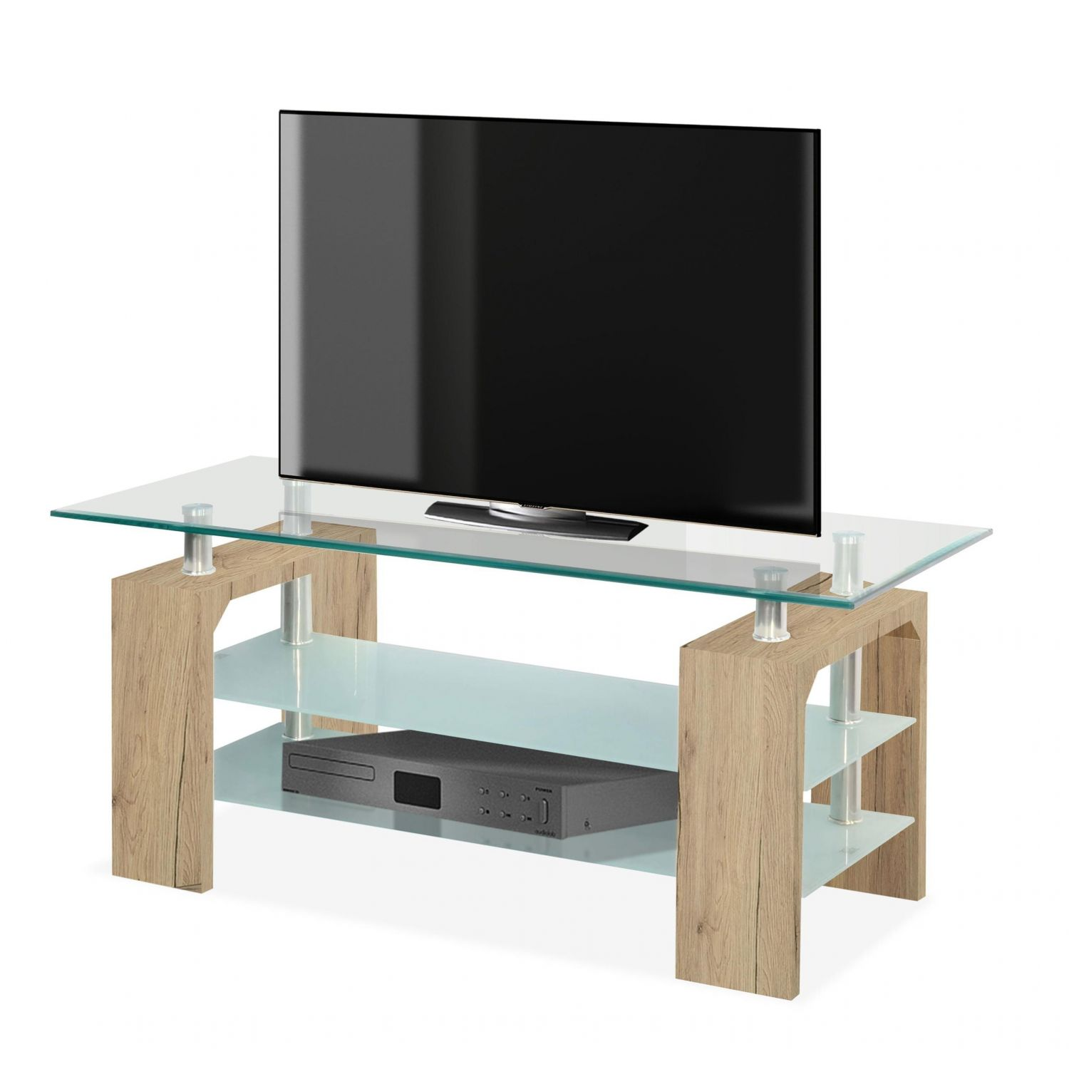 mesa tv econ mica en roble y cristal 110 cm. Black Bedroom Furniture Sets. Home Design Ideas