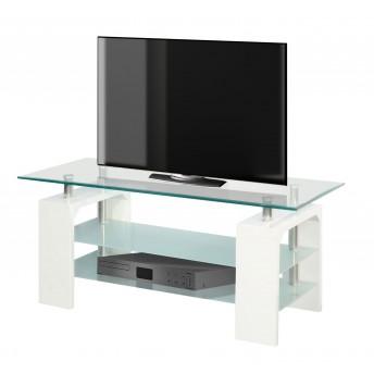 Mesa TV económica en blanco y cristal 110 cm