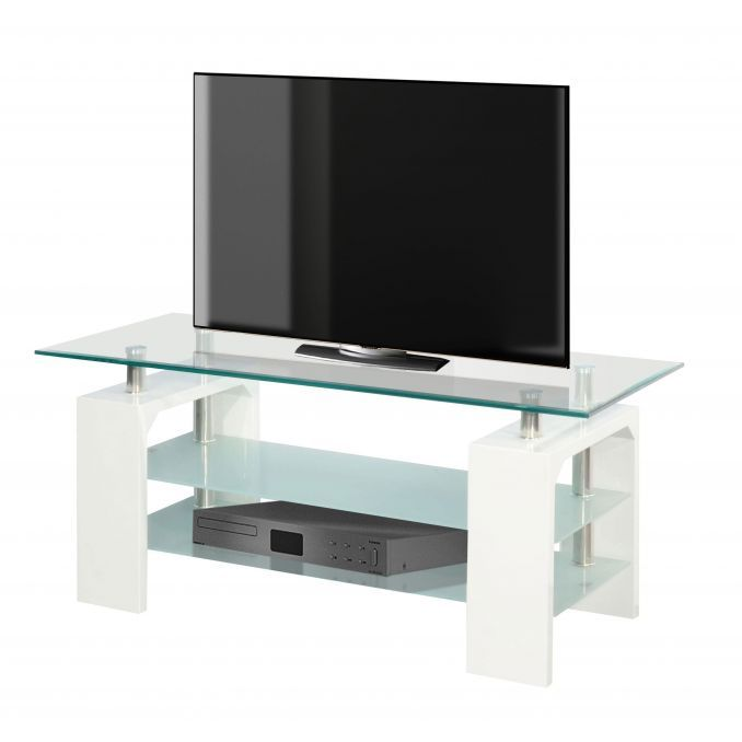 mesa tv econ mica en blanco y cristal 110 cm. Black Bedroom Furniture Sets. Home Design Ideas