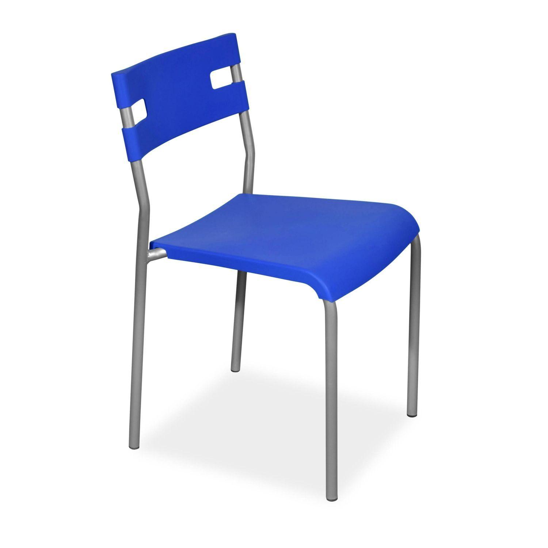 Silla barata metálica en color azul. (Va en cajas de 4 Unid.) OCASION!!!