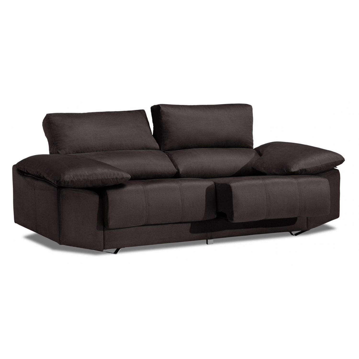 Sof alta gama trufa 3 plazas reclinable y extensible for Sofa 2 plazas extensible