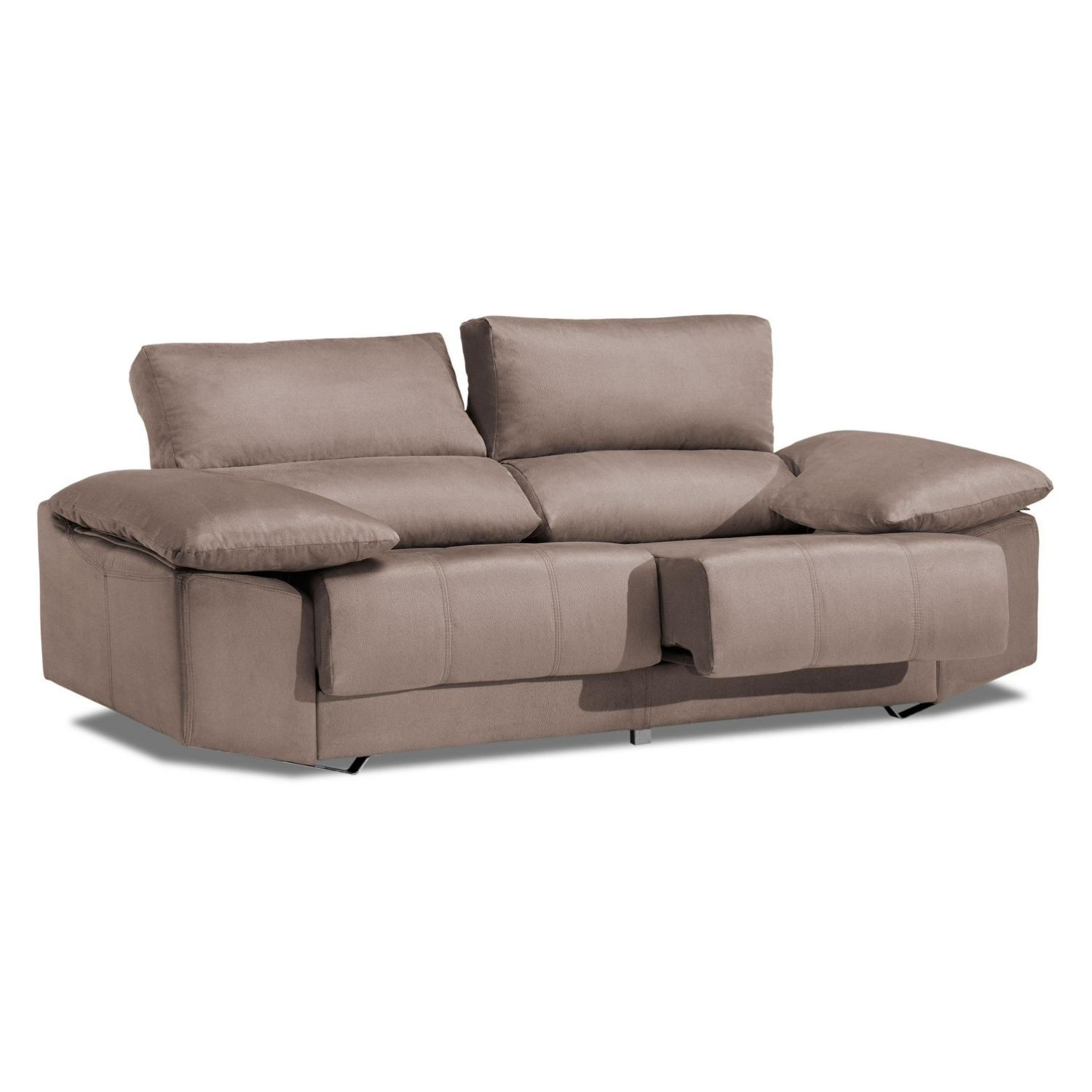 Sofá alta gama beige 3 plazas reclinable y extensible, antimanchas 215 cm