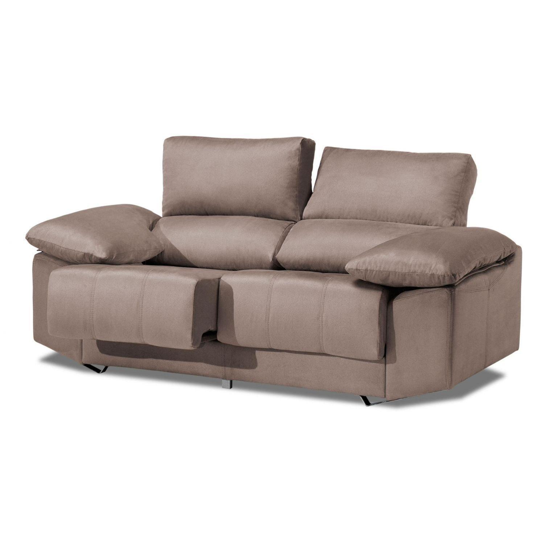 Sofá alta gama beige 2 plazas reclinable y extensible, antimanchas 175 cm