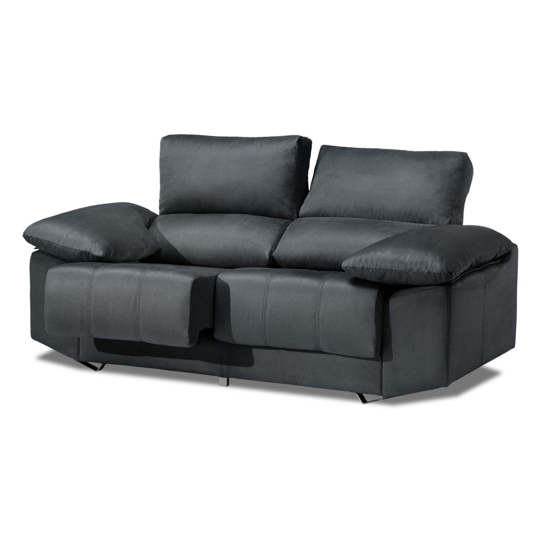 Sofá alta gama ceniza oscuro 2 plazas reclinable y extensible, antimanchas 175 cm