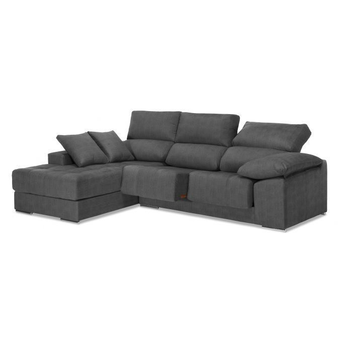 Chaiselongue alta calidad reclinable extensible 260 cm. Antimanchas ceniza.