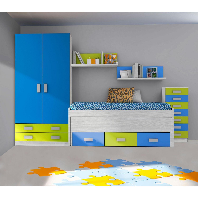 Compacta juvenil buen precio diseño con dos camas(Opcionales Armario,diáfanos y sinfonier) 202 cm.