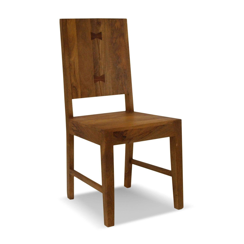 Silla comedor estilo r stico colonial madera maciza de acacia for Sillas madera maciza para comedor