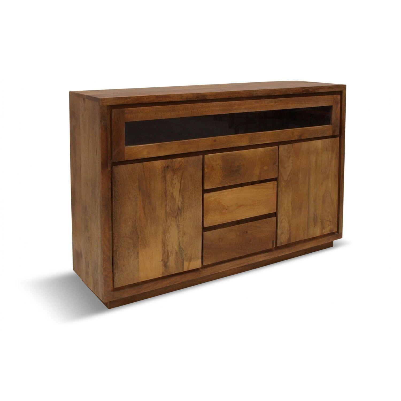 Aparador estilo rústico colonial en madera maciza de acacia  140 cm.