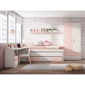Compacta juvenil barata diseño con dos camas (Opcionales armario,diáfanos y escritorio) 202 cm.