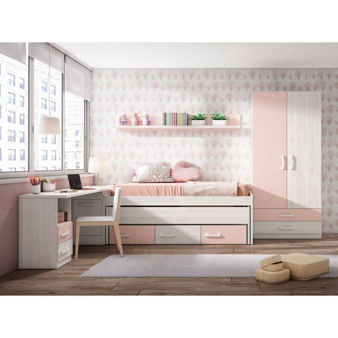 Compacta juvenil barata dise o con dos camas opcionales for Cama juvenil con escritorio