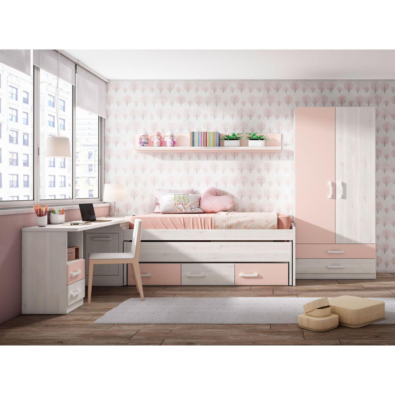 Dormitorio juvenil barato con dos camas opcional armario - Disenos de camas ...