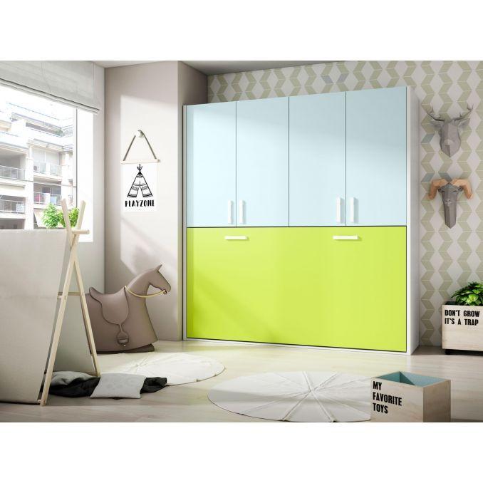 Cama abatible econ mica dise o moderno con armario 4 puertas for Dormitorios ahorro total