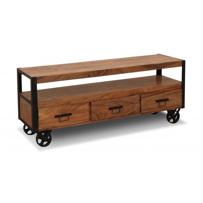 Mesa sal n tv r stico colonial madera maciza - Mueble rustico para tv ...