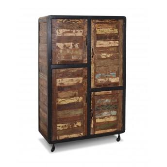 Mueble salón rústico colonial vintage madera maciza y hierro