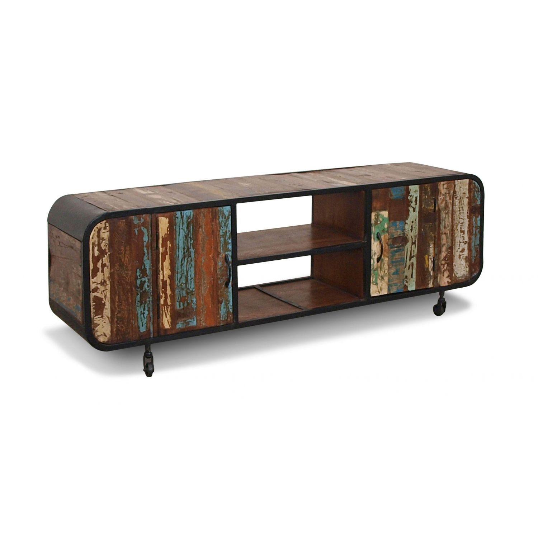 Mesa Tv rústico colonial vintage madera maciza y hierro