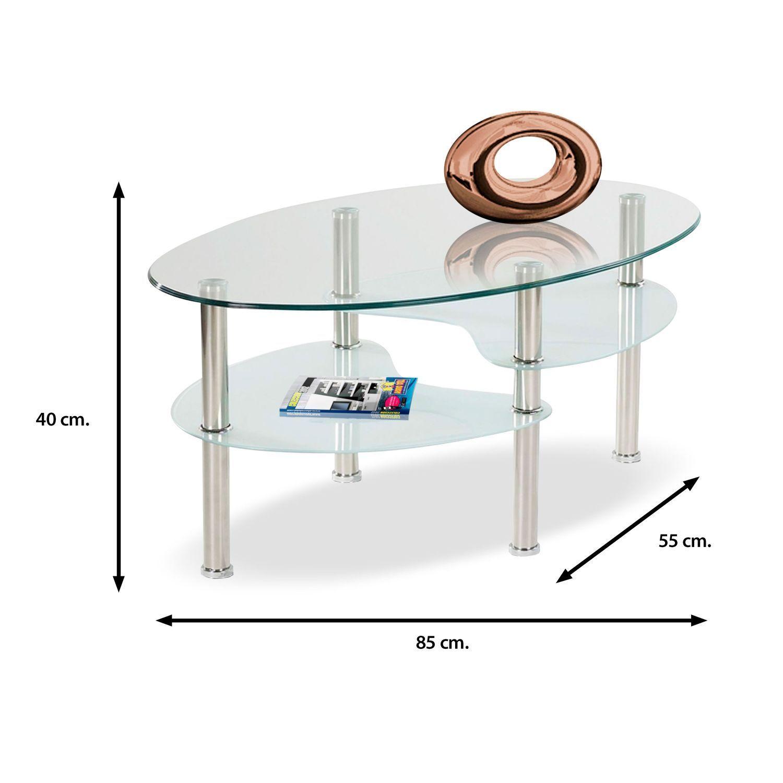 Mesa de centro barata dise o moderno cristal ovalado 85 cm - Mesas de centro de diseno de cristal ...